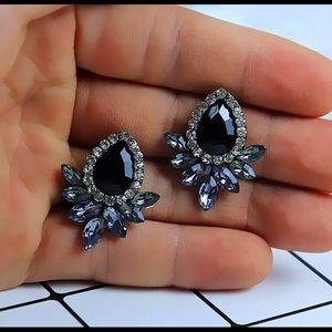 NWT Black & White Rhinestone/Gem Fashion Earrings